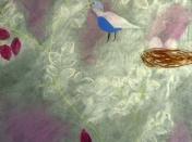 Oiseau sur un fond rose et gris créé à l'atelier de peinture Entretoile à Marseille